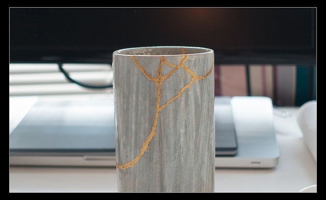 Mug repaired with kintsugi technique